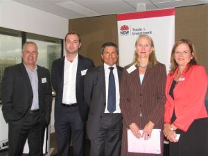 Deane Hubball with Sue McLachlan, CEO of itti bitti and Bruno Mascart, Founder and CEO Altios Australia and NSW Trade and Investment representative